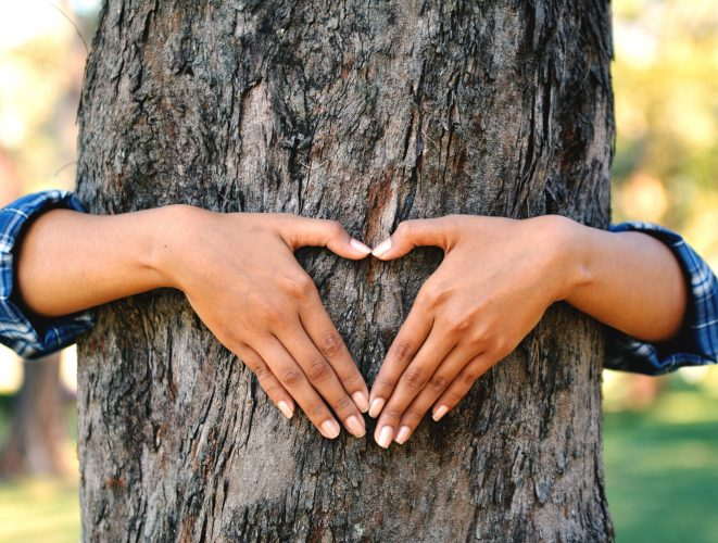 women hug big tree color of hipster tone selective soft focus, concept nature and people